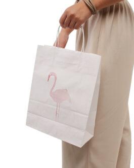 """Пакет """"Фламинго"""" 240*110*320 белый крафт (80 гр) с кручеными ручками"""
