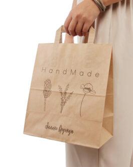 """Пакет """"Hand Made"""" 240*140*280 бурый крафт (80 гр) с плоскими ручками"""