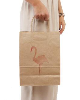 "Пакет ""Фламинго"" 240*110*320 бурый крафт (80 гр) с кручеными ручками"