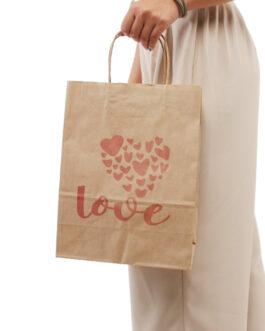 """Пакет """"LOVE""""  240*110*320 бурый крафт (80 гр) с кручеными ручками"""