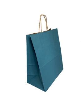 """Пакет крафт """"синий"""" 220*120*270 (ш.д.в.) с кручеными ручками"""