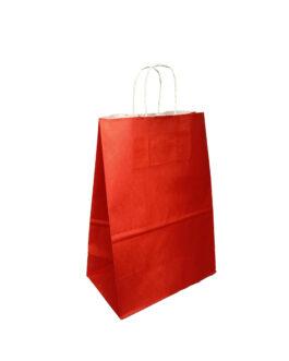 """Пакет крафт """"красный"""" 220*130*320 (ш.д.в.) с кручеными ручками"""
