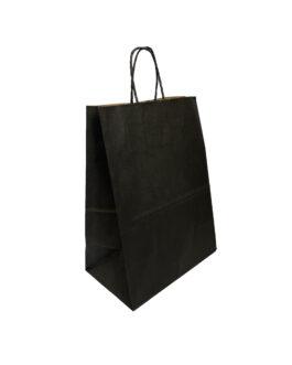 """Пакет крафт """"чёрный"""" 220*130*320 (ш.д.в.) с кручеными ручками"""